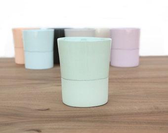 slip cast two-tone porcelain cup