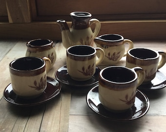 Darling Vintage Child's Tea Set - Shades of Brown  - Stoneware