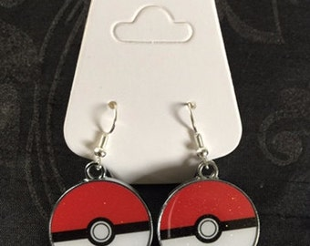 Silver Plated Nintendo Pokemon Pokeball Earrings