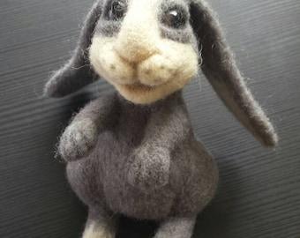 Handmade needle felted rabbit.