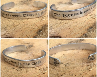 """Viking """"The future is open. Trust in the gods"""" hand stamped cuff, triple spiral, Triskelion, custom, norse, celtic, traditional, Lagertha"""