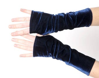 Dark blue velvet armwarmers, Dark blue fingerless gloves, Womens long fingerless gloves, Gift for her, Womens accessories, MALAM