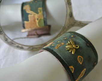 Cuff Bracelet, Textile and Leather, Gold metal Bee, Jewellery