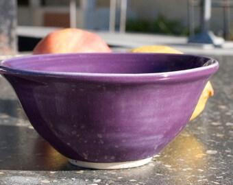Small Bowl, Purple, Dessert, ice cream, fruit salad, kids soup bowl, Stoneware, Hand Painted, Ready To Ship