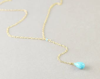 Lariat Turquoise Necklace, Turquoise Drop Necklace, December Birthstone, Adjustable