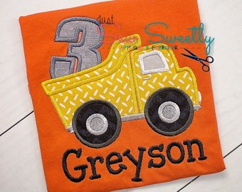 3rd Birthday Dump Truck Applique Design - Embroidery Machine Pattern - construction truck