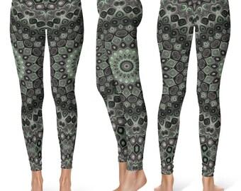 One of a Kind Leggings, Earthy Mandala Yoga Pants, Unique OOAK Gift