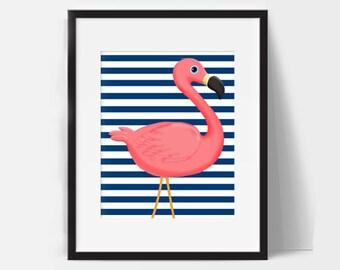 Flamingo Party Decor Bathroom Pink Gift Flamingos Wall Art Beach Nursery Bedroom Print Blue White Striped Tropical Printable Nautical 8X10