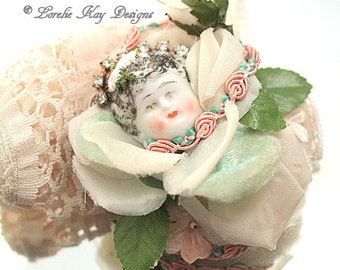 Bloom Art Doll Brooch Jewelry Sugary Sweet Assemblage China Doll Head Jewelry Pin Lorelie Kay Original