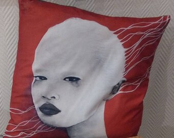 Illustrated cushion Traces Blanches