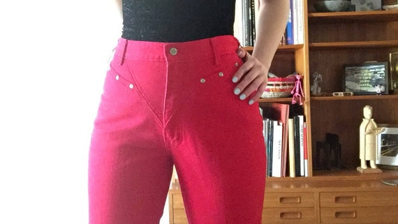 Red Denim Jeans | high waist tapered OZARK MOUNTAIN 80s 90s vintage cherry red pocketless 7 8 9 10 silver adornment detail hipster rocker M