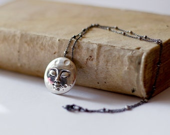 Full Moon Smiling | sterling silver moon necklace moon pendant, moon jewelry heirloom for child, little girl moon necklace | by Lisa Falzon