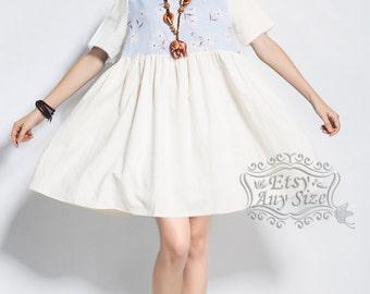 Anysize linen & cotton dress plus size dress plus size tops plus size clothing Spring Summer dress clothing Y10