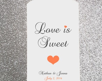 W9, Love is Sweet, Heart, Wedding Candy Bag, Wedding Candy Buffet, Candy Favor Bags, Treat Bags, Kraft Bags, Personalized bags, Sweets table