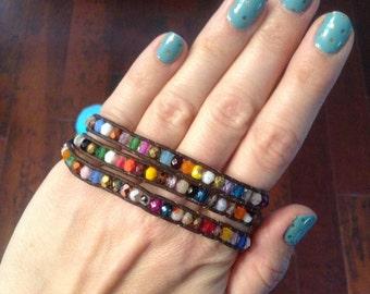 Multiple color Czech glass beaded bohemian leather triple wrap bracelet