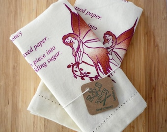 Sugar Plum Fairy, Tea Towel Set, Christmas Gift, Kitchen Towel, Silk Screen Printed Towel, Hostess, Gourmet Gift, Deep Jewels, Holiday Decor