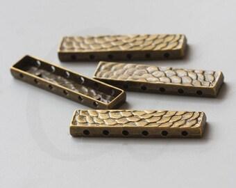 4pcs Antique Brass Tone Base Metal Spacers-6 strand Bar - 48x11mm (16327Y-J-94B)