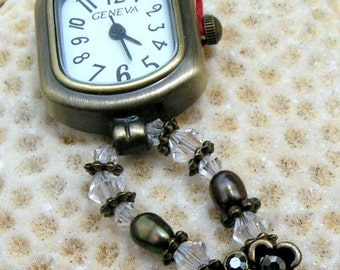 Antique Brass Watch, Swarovski Crystal, Fresh Water Pearl Jewelry W066