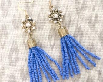 Periwinkle Tassel Earrings, Periwinkle  Blue Earrings, OOAK earrings, Statement Earrings, Beaded Tassel Earrings