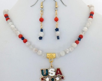 USA Snowy Quartz Coral Howlite Necklace Earrings Set Natural Stone
