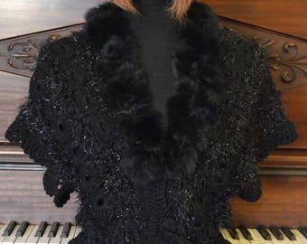 Hand crochet elegant black vest
