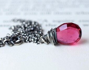 Ruby Quartz Necklace, Raspberry Red Quartz Necklace, Oxidized Silver Necklace, Dark Pink Sterling Silver Wire Wrapped Necklace July Birthday