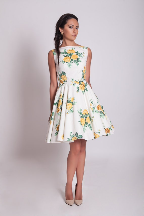 50s inspired yellow floral dress with circle skirt floral