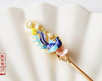 flyin Chinese phoenix hair pin, brass-based cloisonne hair stick, traditional Chinese hair stick