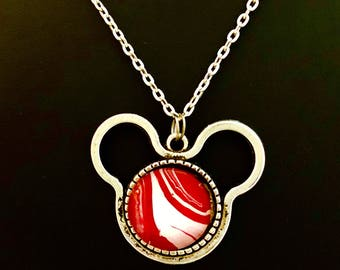 Love the Mouse - Red and white - cheerleading - gift - 1 inch glass insert - Disney