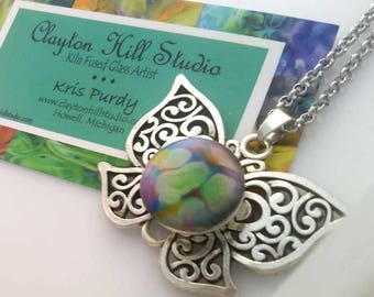 Butterfly PenDot Necklace - fused glass
