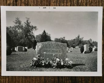 Original Vintage Photograph Shimonsky Grave | 1958