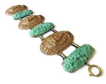 Art Deco Germany Budhha Bracelet - Molded Glass, Czech Glass, Egyptian Revival, Heron Crane Bird, Gold Brass, German Jewelry