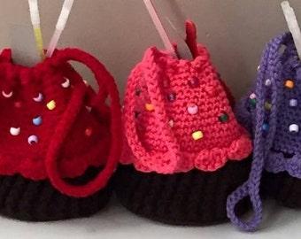 Cupcake Purse - Cupcake Party Bag - Cupcake Bag - Girls Purse - Crochet Cupcake - Cupcake Party Favor - Gifts for Her -