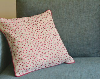 So Fun! Triangle Confetti Embroidery on Linen Pillow Cover , Pink Confetti Cushion Cover , Pink and Natural Cotton Linen Pillow Cover