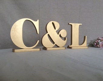 Initials gold wooden letters gold monogram Wedding table decor  Photo Prop letters wood wedding sign wedding reception