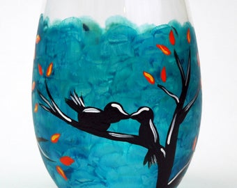 Love Birds Stemless Wine Glass