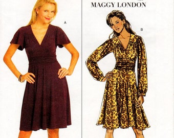 Sz 8/10/12/14 - Butterick Dress Pattern B5243 by MAGGY LONDON - Misses' Flared, Yoked, Wrap Dress in Two Options - Butterick Patterns
