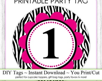 Instant Download - Party Printable Tag, Zebra Print and Hot Pink Party Tag, 1st Birthday Party Tag, DIY Cupcake Topper, You Print, You Cut