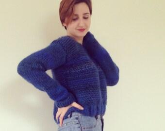 Blue sweater, women's handknit sweater, short sweater, handknit, bulky sweater,royal blue, handmade, knitted, warm yarn.