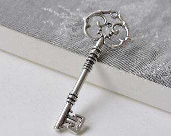 Skeleton Key Pendants Antique Silver Huge Key Charms  31x83mm Set of 5 pcs A7843