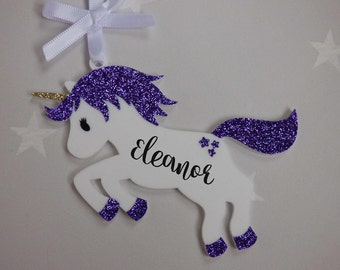 Personalised unicorn glitter acrylic perspex hanging bauble decoration purple personalized ornament