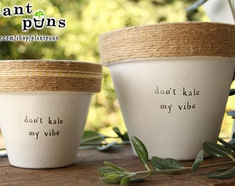 """6"""" Don't Kale My Vibe » Kale Plant Indoor and Outdoor Pot or Planter"""