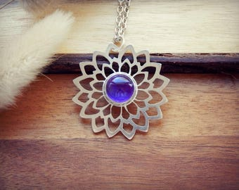 Amethyst necklace,sterling silver necklace,925 silver necklace,bohemian necklace,boho,handcut,flower,amethyst,amethyst pendant,handmade