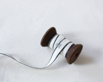 "Natural + Black Edge Drittofilo Cotton Ribbon (with Wooden Spool) - 5 yards - 3/8"" wide"