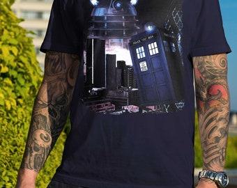 London Calling / Doctor Who / Tardis  / Dalek / Art / Unisex / Ladies / Cotton / T-Shirt