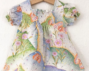 Vintage Baby French 70s Floral Print Butterfly Cotton Smock Boho Girls Dress 0-6 M