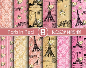 Paris Scrapbook Paper, Eiffel Tower Digital Paper Vintage Digital Paper Pack, Pink, Red, Scrapbooking - INSTANT DOWNLOAD - 1817