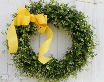 Boxwood Wreath, Spring Wreath, Summer Wreath, Green Wreath, Yellow Wreath, Front Door Wreath, Farmhouse Decor, Year Round Wreath, Wreaths