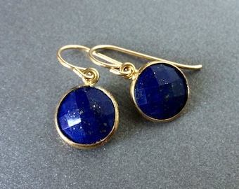 Lapis Earrings, Lapis Gold Earrings, Lapis Silver Earrings, Faceted Round Lapis, Delicate Lapis in Gold Frames