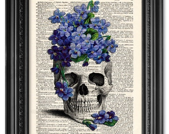 Skull print, Skull forget me not, dictionary art print, Original artwork, Wall decor, Funny, Gift poster, Gift for him [ART 037]